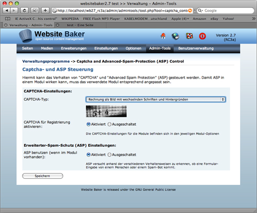 WebsiteBaker 2.7: Verbesserte Captchas