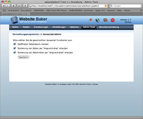 WebsiteBaker 2.7: Seiten via Drag&Drop sortieren