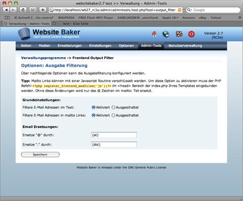 WebsiteBaker 2.7: Ausgabefilter