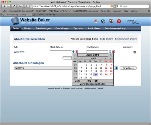 WebsiteBaker 2.7: Zeitgesteuertes Veröffentlichen