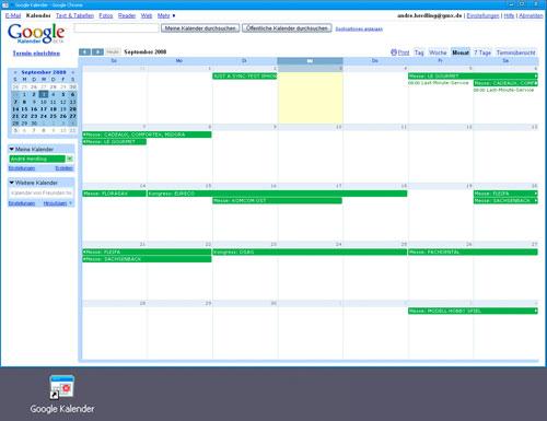 Der Google Kalender als Anwendungsverknüpfung