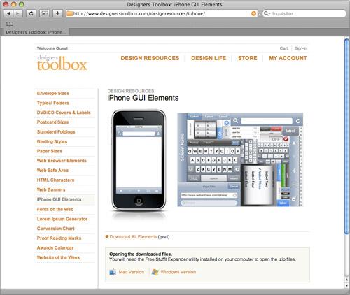 iPhone UI-Elemente bei designerstoolbox.com