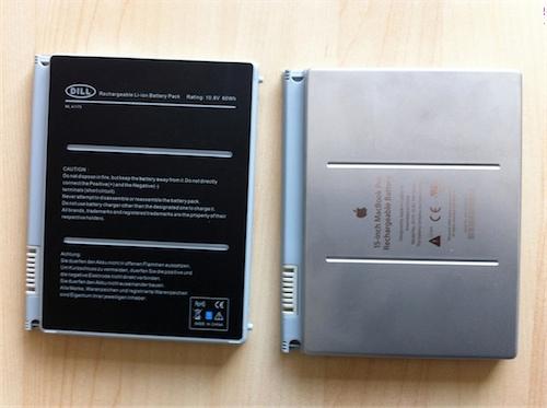 Vergleich der Akkus (Rückseite): Links der Akku von DILL, rechts der von Apple
