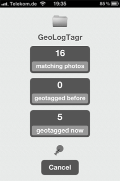 Statusanzeige während des Taggings (Quelle: GeoTagr)
