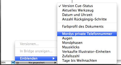 Seltsame Befehle in der Illustrator-CS3-Statusbar