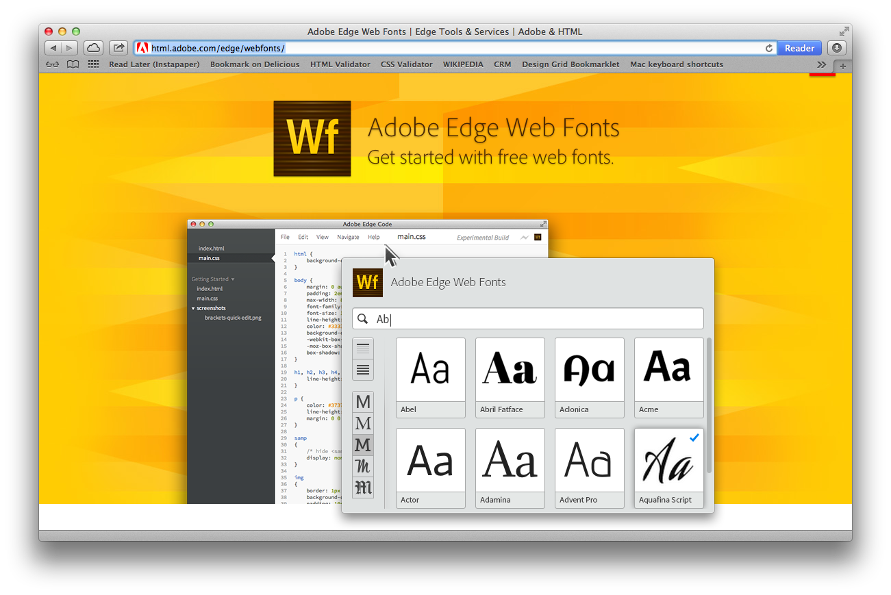 Screenshot Adobe Edge Web Fonts