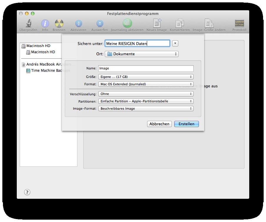 Disc Image mit dem Festplattendienstprogramm erstellen
