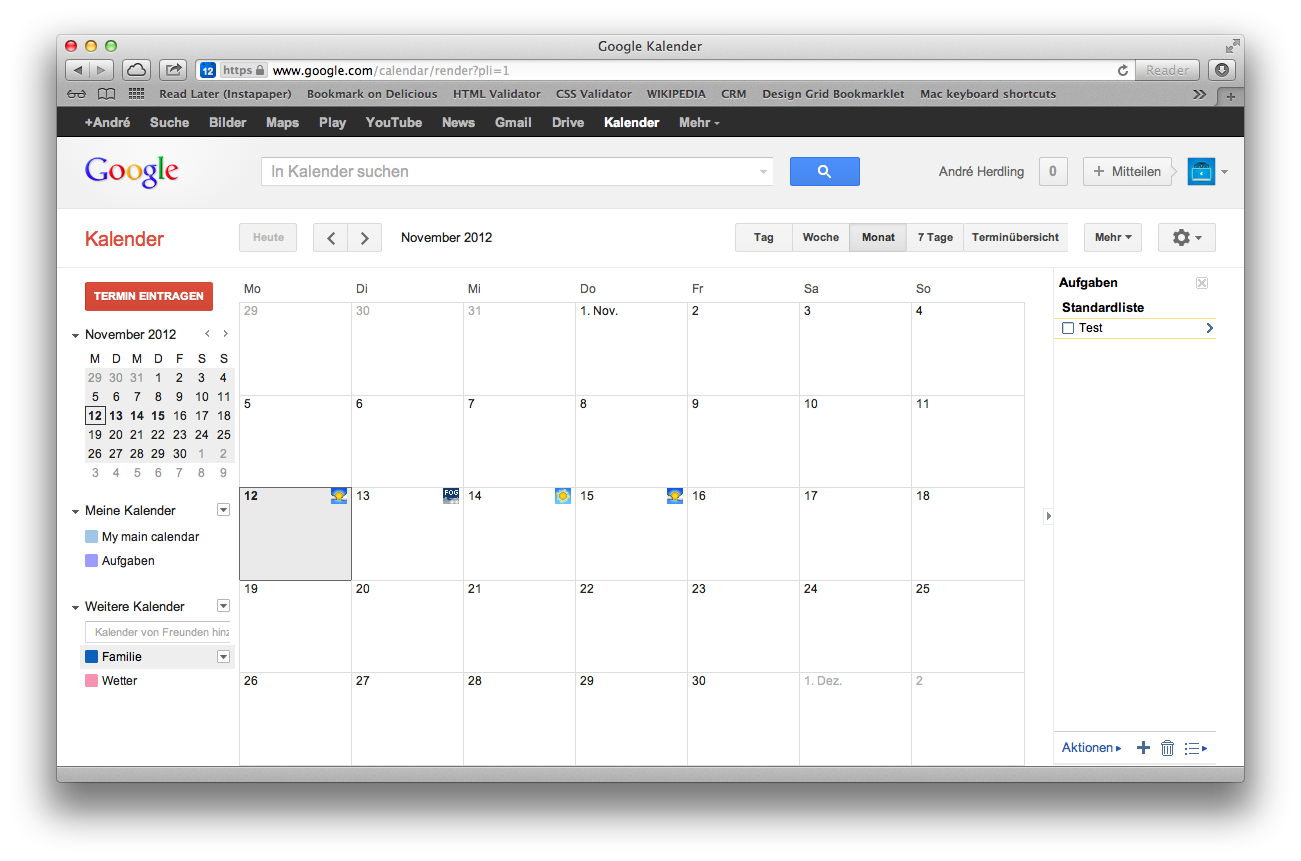 Screenshot Google Kalender Webapp