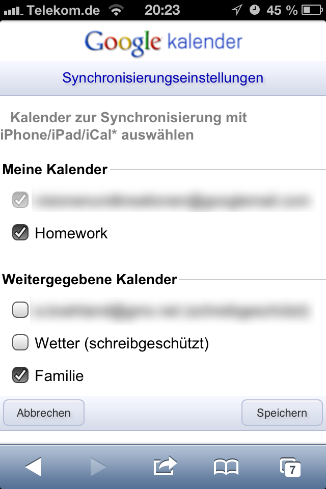 Google Kalender Auswahl auf dem iPhone