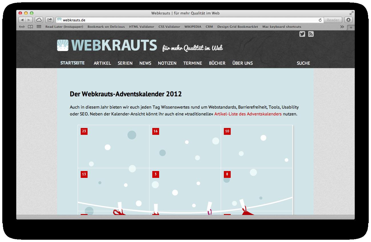 Der Webkrauts-Adventskalender 2012, Screenshot webkrauts.de