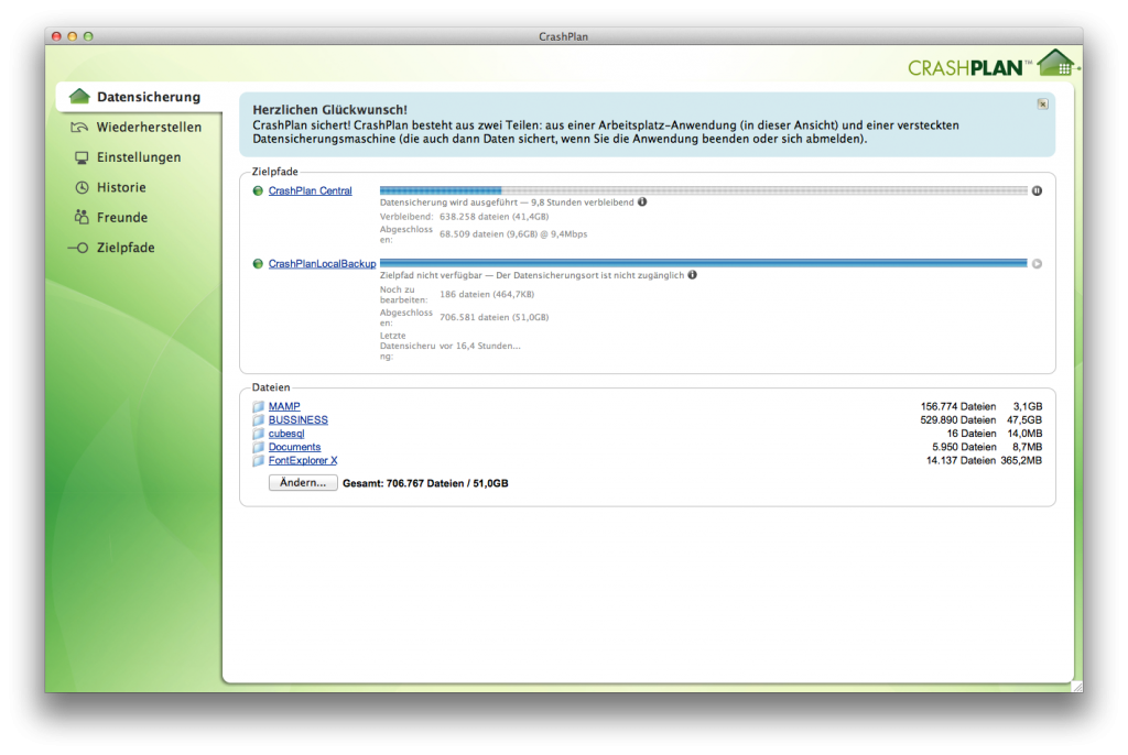 Screenshot CrashPlan-Client für OS X