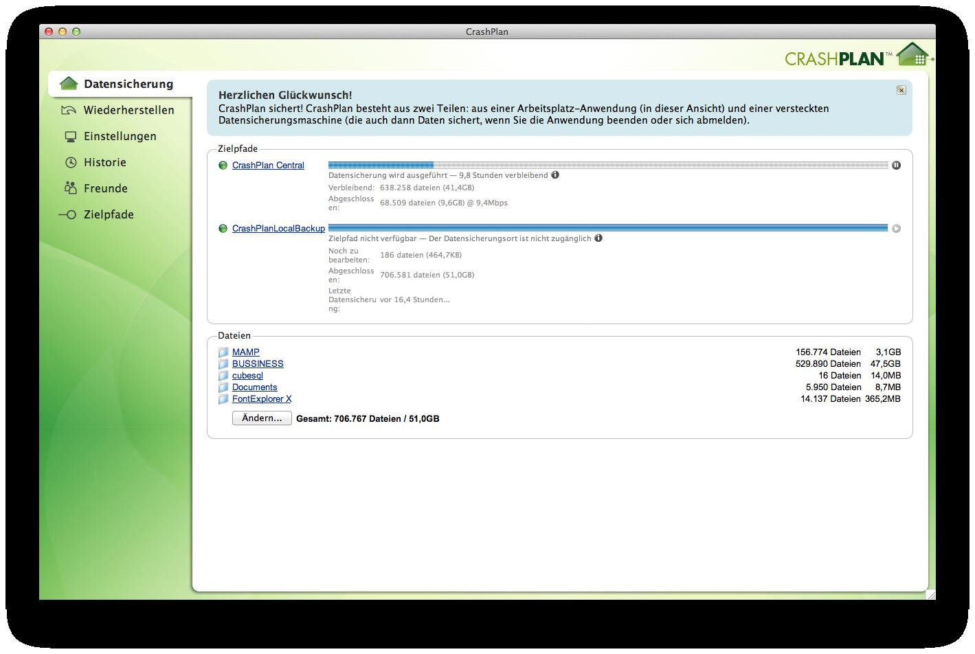 Screenshot CrashPlan-Client für OS X