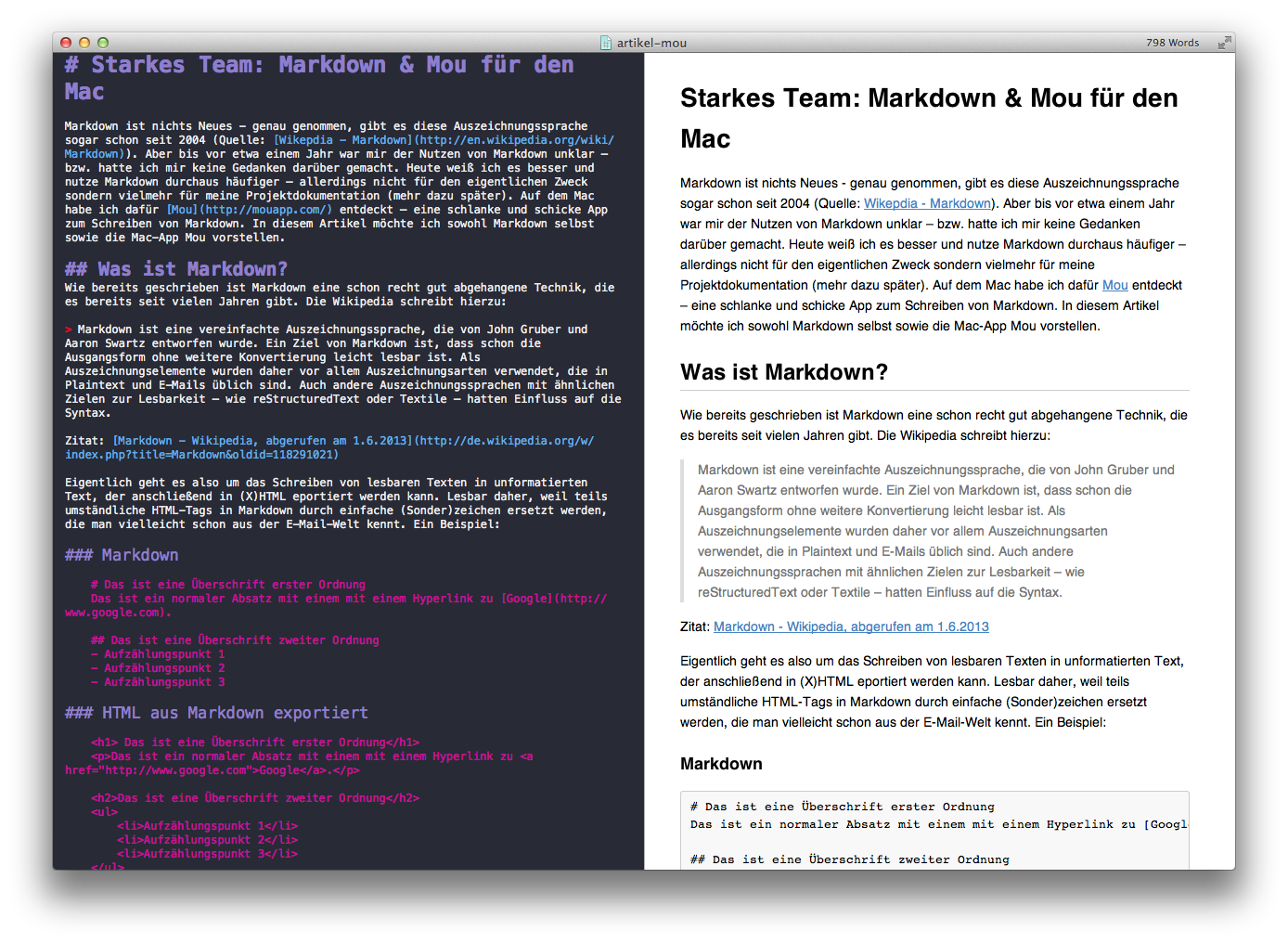 Screenshot Mou Markdown Editor für OSX