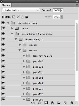 In der Ebenenpalette von Photoshop befinden sich alle Elemente der Website logisch gruppiert gemäß der HTML-Struktur