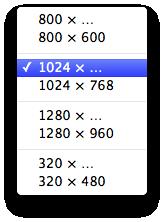 """Mit der Größen-Vorauswahl lassen sich bestimmte Capture-Größen auswählen. Die Option mit """"..."""" am Ende erfasst dabei auch sämtliche Elemente außerhalb des Viewports, also die komplette Seite."""