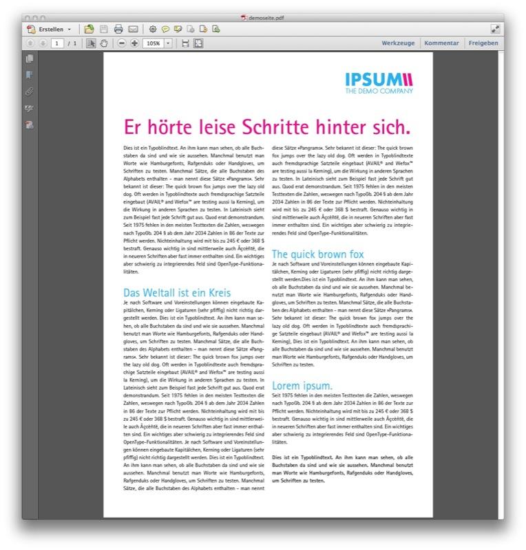 Unser Ausgangspunkt: Eine vom Kunden gelieferte PDF (Screenshot Acrobat)