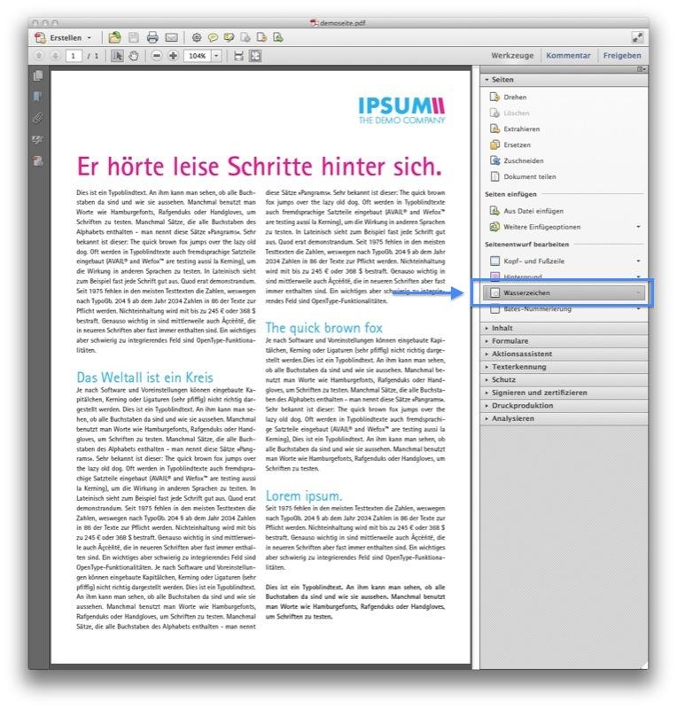 """Schritt 2; In der Werkzeugleiste unter """"Seiten"""" → """"Wasserzeichen"""" → """"Wasserzeichen hinzufügen"""" auswählen (Screenshot Acrobat)"""