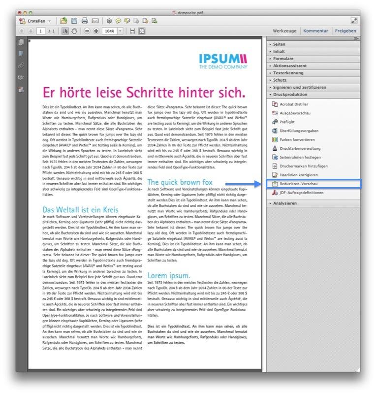 """Schritt 4: In der Werkzeugleiste links wählen wir nun """"Druckproduktion"""" → """"Reduzieren-Vorschau"""" (Screenshot Acrobat)"""