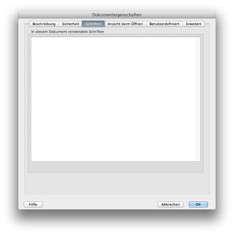 """Unter """"Datei"""" → """"Eigenschaften"""" → """"Schriften"""" kann man abschließend noch einmal prüfen, ob tatsächlich alle Schriften umgewandelt wurden. In diesem Fall werden keine Dokumentschriften mehr angezeigt."""