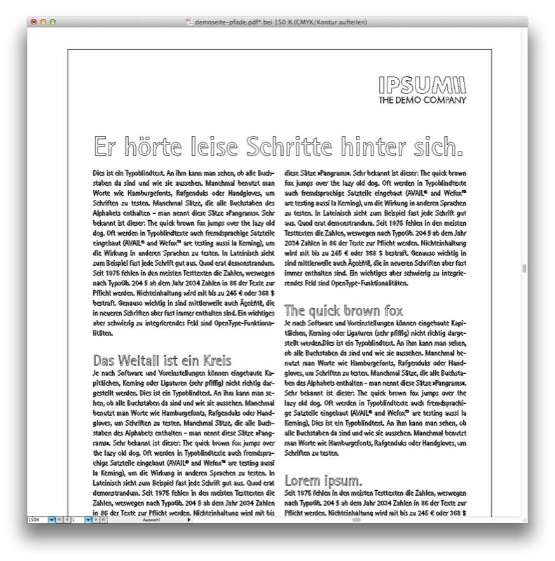 Mit Acobat lassen sich Schriften in Pfade umwandeln (Screenshot: Pfadansicht in Adobe Illustrator nach der Konvertierung)
