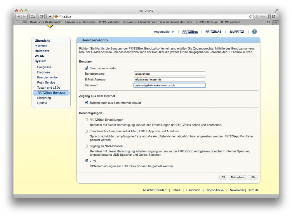 Unter System – > FRITZ!Box-Benutzer wird der neue Nutzer für den VPN-Zugang angelegt (Screenshot: Verwaltungsoberfläche der FRITZ!Box)