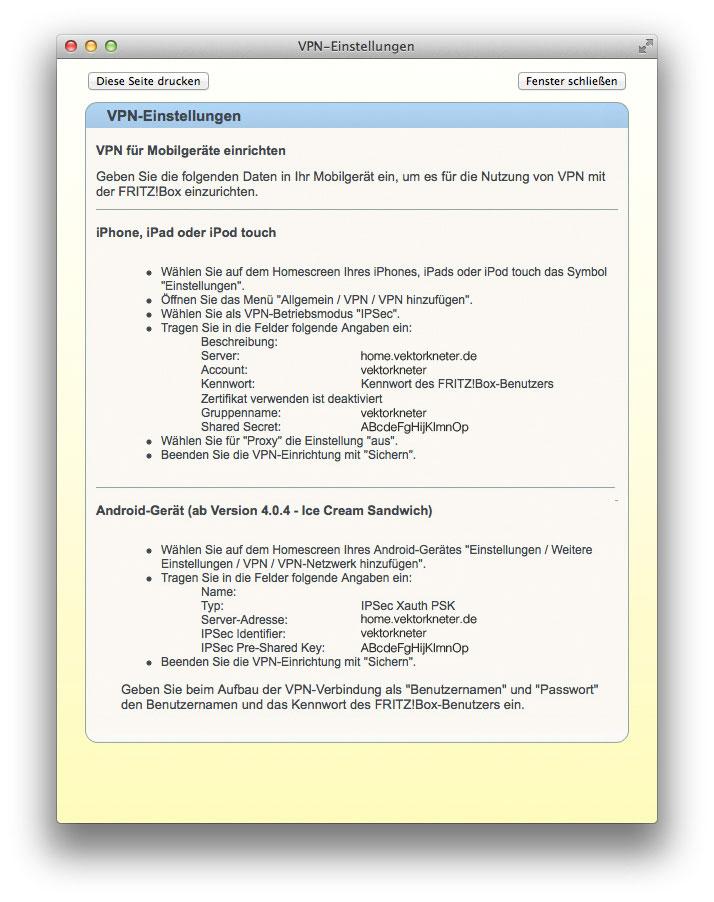 Anzeige der den Nutzer betreffenden VPN-Zugangsdaten. Vor allem das Shared Secret ist hier wichtig und sollte für später notiert werden (Screenshot FRITZ!Box Verwaltungsoberfläche).
