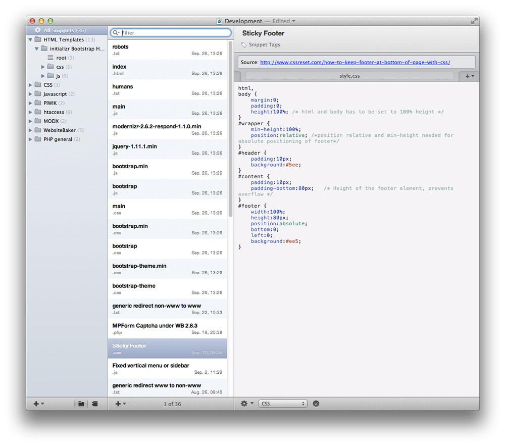 Die CodeBox App für den Mac. Snippets können via Ordner, Gruppen und Tags übersichtlich sortiert werden.