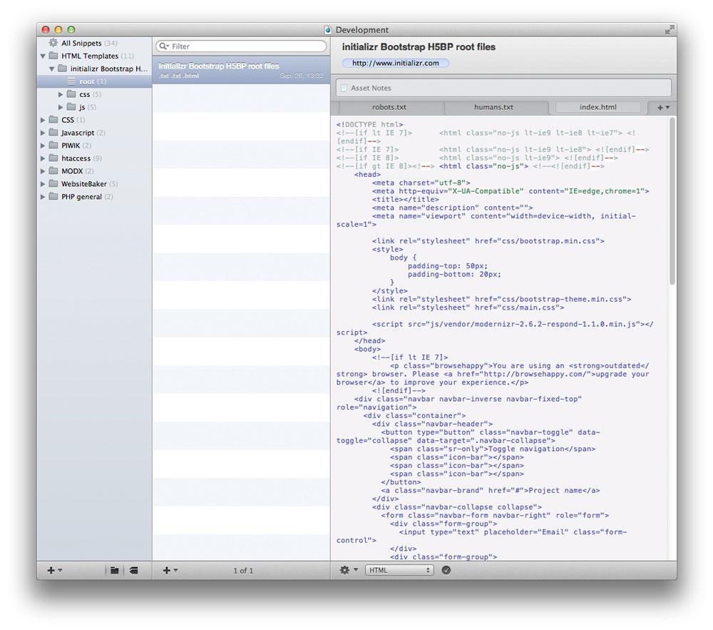 Ein Snippet kann aus mehreren s.g. Assets bestehen. Somit lassen sich z.B. auch ganze HTML Templates inklusive zugehöriger Dateien in CodeBox abbilden.