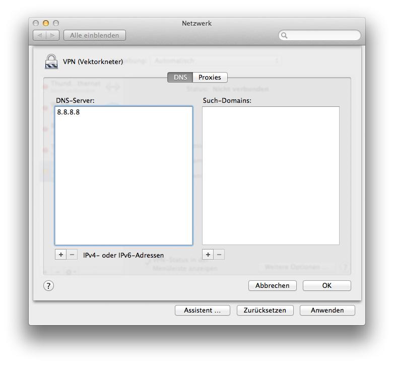 """Über die Schaltfäche """"Weitere Optionen"""" in der VPN-Konfiguration kann der DNS-Server bei Benutzung des VPN-Zugangs eingestellt werden (Screenshot: Mac OS 10.9 Mavericks)"""