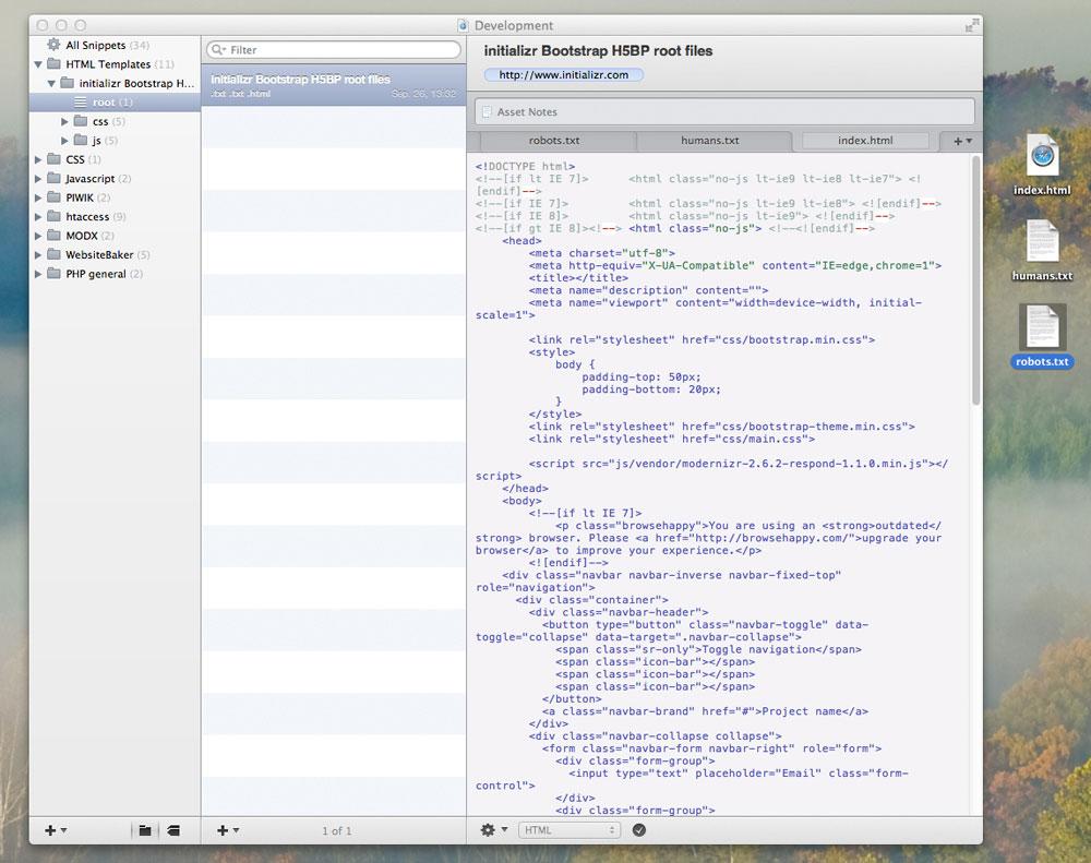 Snippets können mitsamt aller Assets via Drag&Drop aus CodeBox in ein beliebiges Verzeichnis dupliziert werden. Das funktioniert auch mit Gruppen oder Ordner mit mehreren Snippets. Auf dem umgekehrten Weg nimmt CodeBox neue Snippets entgegen.