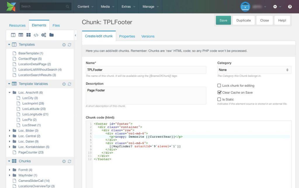 In Chunks lässt sich HTML-Code für die spätere Wiederverwendung auslagern