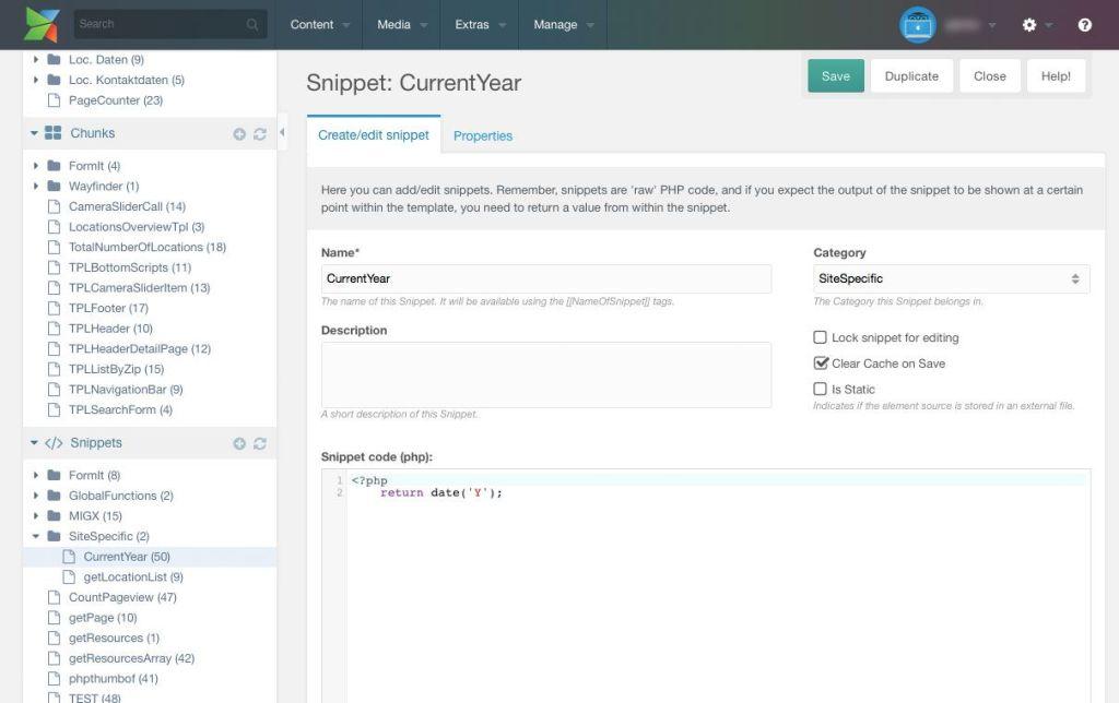 Snippets sind PHP-Funktionen, welche über MODX Tags an beliebiger Stelle platziert werden können.
