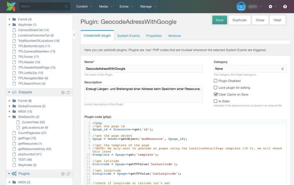Plugins können sich an System Events von MODX® hängen und führen dann eigenen PHP-Code aus.