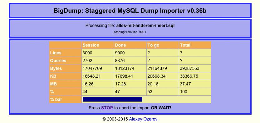 BigDump bei der Arbeit (Screenshot)