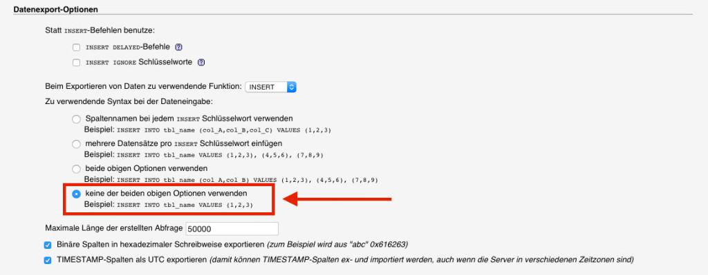 Wichtig beim Export aus phpMyAdmin: Die hier gezeigte Option muss zum Verhindern von extended inserts beim Export angewählt sein