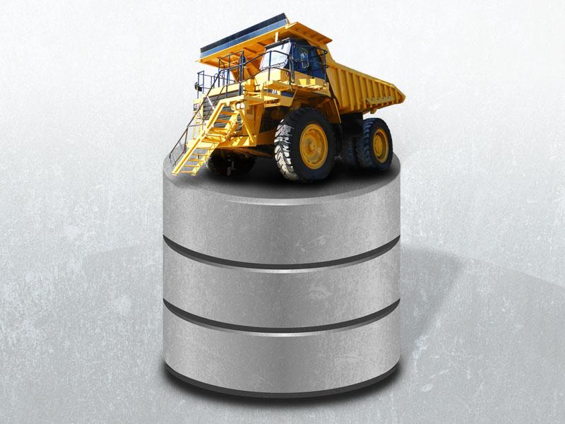 BigDump für große Datenbanken (Bildbestandteile: Truck, Datenbank, Rost von pixabay,com unter CC0 Public Domain Lizenz; Montage: vektorkneter.de)