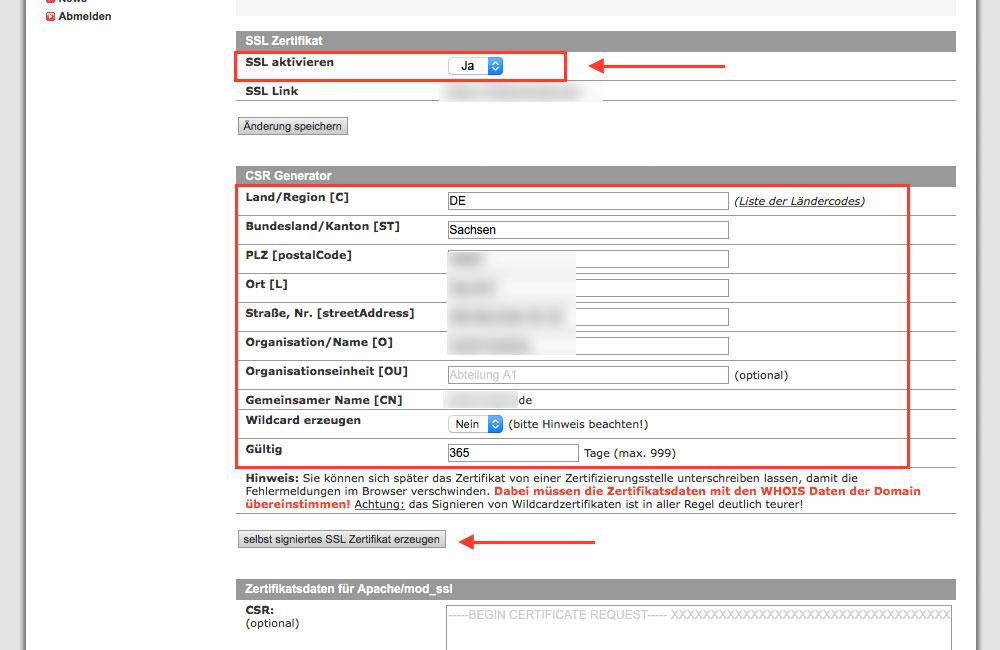 Selbst signiertes Zertifikat von all-inkl.com erstellen lassen (Screenshot: Kundenadministrationssystem KAS von all-inkl.com)