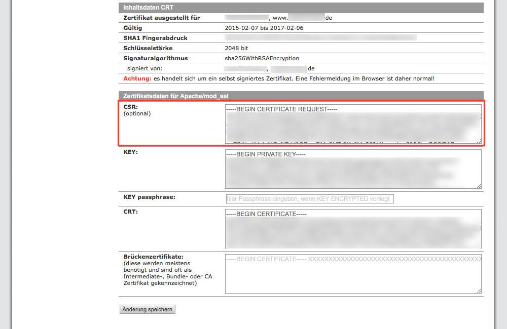 Der Certificate Signing Request (CSR) wird später benötigt (Screenshot: Kundenadministrationssystem KAS von all-inkl.com)