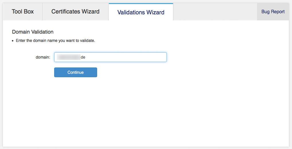 Zunächst muss die Inhaberschaft der Domain bestätigt werden (Screenshot: StartCom Website)