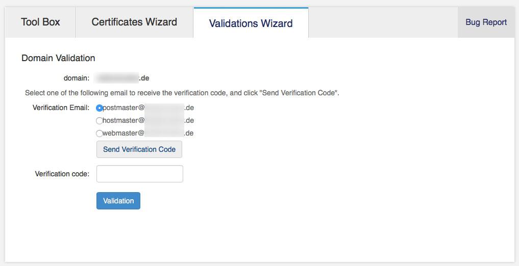 Für die Bestätigung sendet StartSSL einen Verification Code an eine der drei vorgegebenen Adressen (Screenshot: StartCom Website)
