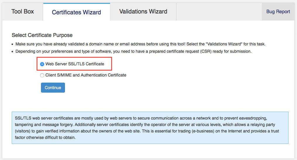 """Im """"Certificates Wizard"""" wählt man das gewünschte Zertifikat aus (Screenshot: StartCom Website)"""