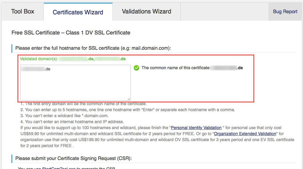 Im nächsten Schritt gibt man den/die Hostnamen ein, für den/die das Zertifikat gelten soll (Screenshot: StartCom Website)