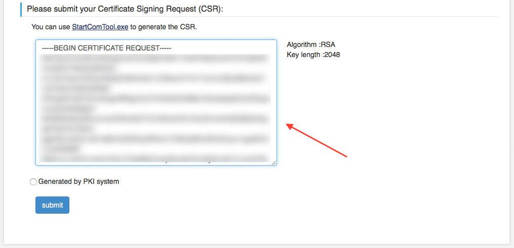 Im letzten Schritt wird hier der Inhalte des der von all-inkl.com generierten Certificate Signing Request (CSR) rein kopiert (Screenshot: StartCom Website)
