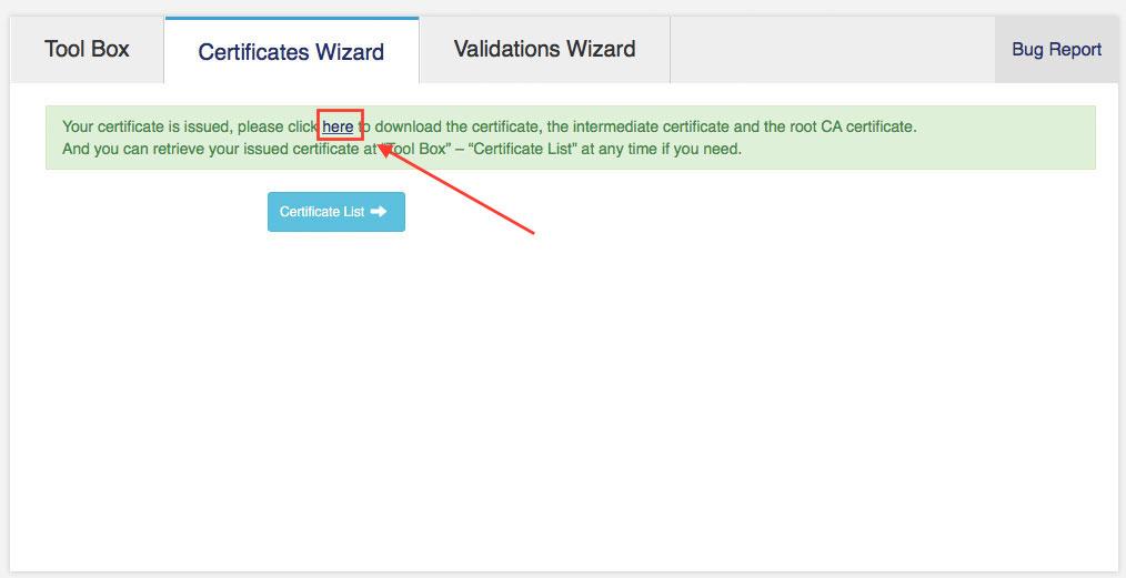 Leicht zu übersehen: Auf der Bestätigungsseite gibt es den Link für den Download der Zertifikats-Dateien (Screenshot: StartCom Website)
