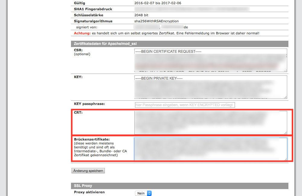 Hier werden die Inhalte der von StartSSL herunter geladenen Dateien hineinkopiert (Screenshot: Kundenadministrationssystem KAS von all-inkl.com)
