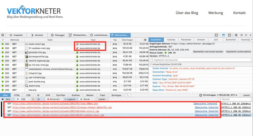 """Die Entwickler-Tools helfen beim Auffinden von """"Mixed Content"""" Fehlern – wie hier nach der Umstellung meines Blogs (Screenshot Mozilla Firefox)"""