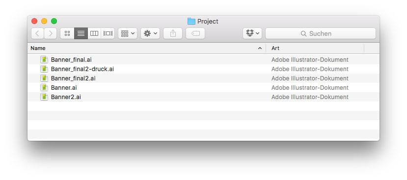 Häufig tragen Layout-Dateien abenteuerliche Namen und man braucht einen Moment, um den aktuellsten Stand zu erkennen.